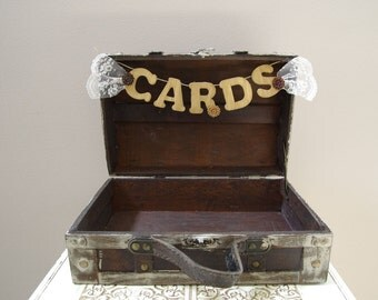 Rustic Wedding Card Box - Vintage style trunk - travel and rustic style