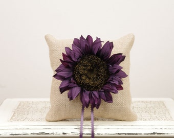 Purple Sunflower Ring Bearer Pillow - Rustic and Burlap