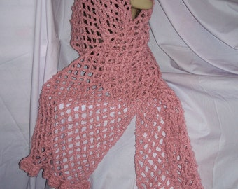 Pink Ruffle Crochet Scarf/Shawl - Free Shipping to US and Canada