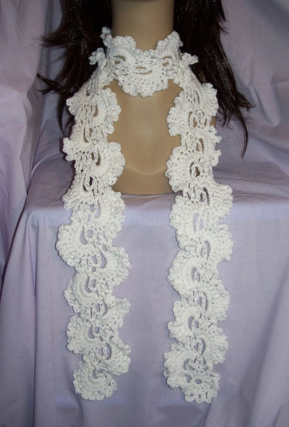White Crochet Queen Annes Lace Scarf - FREE SHIPPING to US and Canada