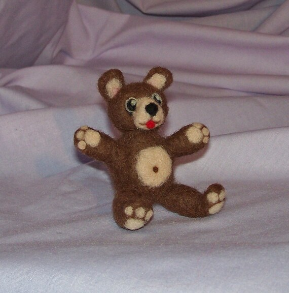 Brown Teddy Bear - Needle Felted Soft Sculpture - FREE SHIPPING to US and Canada