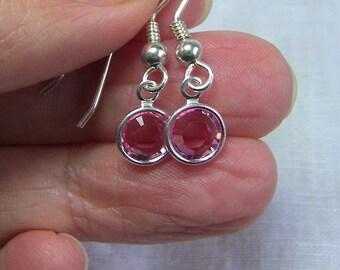Light Rose Crystal Drop Earrings, Dangle Earrings.