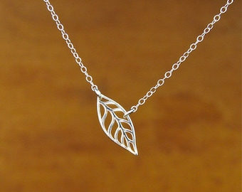 Leaf Necklace, Bridesmaid Gift, MOM, Sister, Friendship, Sterling Silver, Wife, bridesmaid gift, wedding,Mother's Day Gifts,
