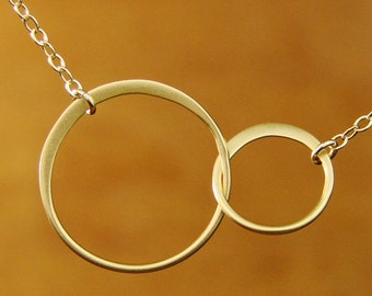 Circle Necklace jewelry Two Gold Circles Gold Necklace bridesmaid jewelry Interlocking linked Double Circle Christmas Holiday Gifts Gift w