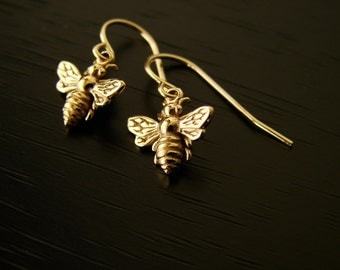 Bronze Honeybee Bumble Bee Earrings,Mother's Day Gifts, bee earrings, bronze bee earrings, wedding gift, bridesmaid gift