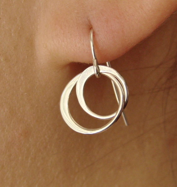 Entwined Circles Earrings in Sterling Silver