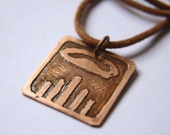 DRAGON Mayan Pendant ( Maya IMIX / Spanish DRAGON ). Galactic Symbol or Gliph or Sign Maya.Etched copper