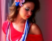 Stars and Stripes - French Eco Chic sports team Upcycled Recycled Tshirt Bib Necklace w/ removeable Flower Hair Clip