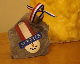Patriotic Americana Snowman Ornament