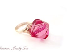 Hot Pink Ring, Siver Wire Wrap Jewelry, Crystal Acrylic, Statement Jewelry, Bridesmaid Gift, Hot Pink Jewelry
