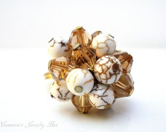 Gold Cluster Ring, Swarovski Crystals, Gold Topaz, White Magnesite, Wire Wrapped Ring, Bohemian Jewelry