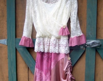 Roses and Lace Refashion Upcycle Dress