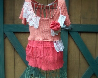 Peach and Ivory Tattered Refashioned Top Ruffles Vintage Lace Fiber Art Upcycled Funky and Romantic SIZE MED