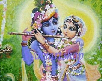 Divine couple Radha Krishna devotional art  Syam Marquez Gods Goddess India acrylic painting syamarts colourful summer in nature