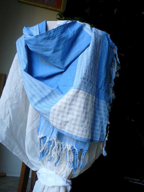 Pure cotton summer sky blue, white cloud, upcycled shawl, wrap, dupata, sarong, beach wear, fashion