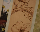 Botanical art, floral Primrose picture mixed media collage, vintage nature book papers stamping, drawing pyrography. Shabby chic picture