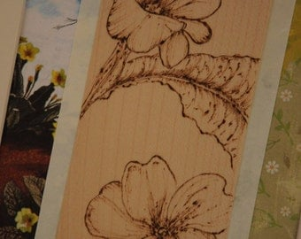 Original Botanical art, floral Primrose picture mixed media collage, vintage style drawing, pyrography. Shabby chic picture
