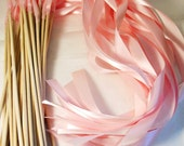 Custom Listing satin Wedding Ribbon Wands - Custom Colors - Pack of 100 - Shown in Light Pink - Fairytale Wedding