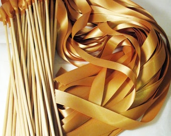 100 Magical Wedding Ribbon Wands IN YOUR COLORS (shown in deep gold) Instead of Rice and Bubbles for ceremony exit