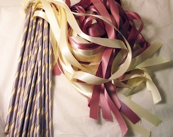 Enchanted Wedding Ribbon Wands 50 Pack IN YOUR COLORS (shown in blush pink and ivory with silver)