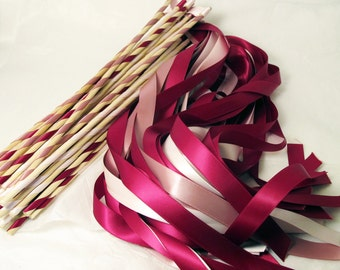 Enchanted Wedding Ribbon Wands 50 Pack IN YOUR COLORS (shown in wine, blush pink, and ivory)