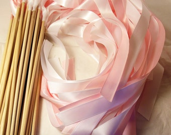 Satin Wedding Ribbon Wands - Custom Colors - Pack of 100 - Shown in Light Pink