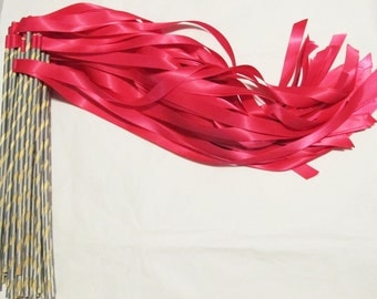 Enchanted Wedding Ribbon Wands 50 Pack IN YOUR COLORS (shown in hot pink and silver) Colorful wedding exit and favors