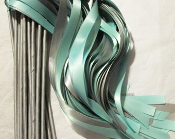 Enchanted Wedding Ribbon Wands 50 Pack IN YOUR COLORS (shown in Silver and Aqua) Unique wedding ceremony exit idea