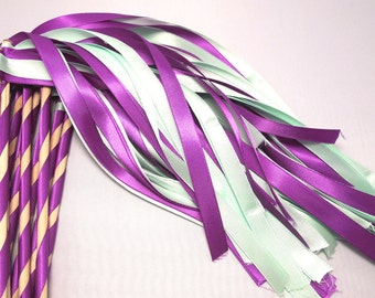 Enchanted Fairytale Wedding Ribbon Wands 50 Pack in YOUR COLORS