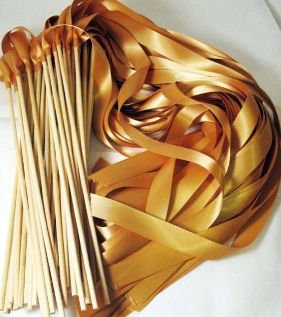 Satin Wedding Ribbon Wands - Custom Colors - Pack of 50 - Shown in Deep Gold - Unique Ceremony Exit Idea