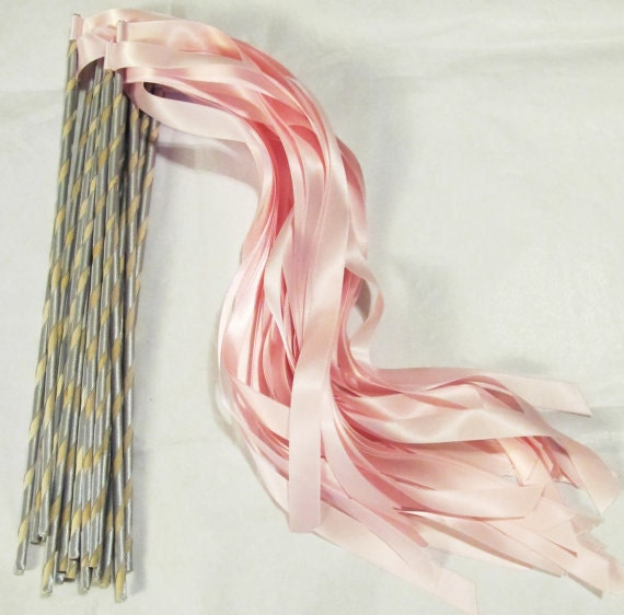 Enchanted Ribbon Wands 50 pack in YOUR COLORS (shown in light pink and silver)