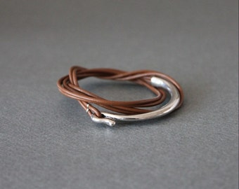 Leather Wrap Bracelet Rhodium Silver Plated Brass Hook (Brown)