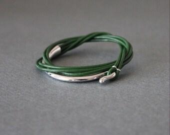 Leather Wrap Bracelet Rhodium Silver Plated Brass Hook (Sea Green)