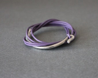 Leather Wrap Bracelet Rhodium Silver Plated Brass Hook (Violet)