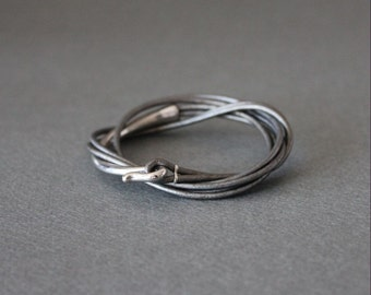 Leather Wrap Bracelet Rhodium Silver Plated Brass Hook (Pearl Gray)