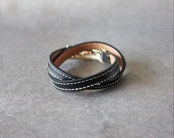 Double Wrap Belt Buckle Ornament Leather Bracelet(Black)