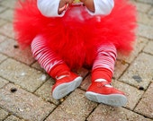 Red Christmas Tutu  for baby or toddler with Flower Headband - Newborn to 2T - Christmas Photos, Christmas Cards, Parties