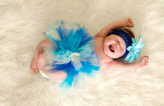 Blue Tutu and Headband for Baby or Newborn Turquoise Aqua Baby Showers, Birth Announcements, 1st Birthday