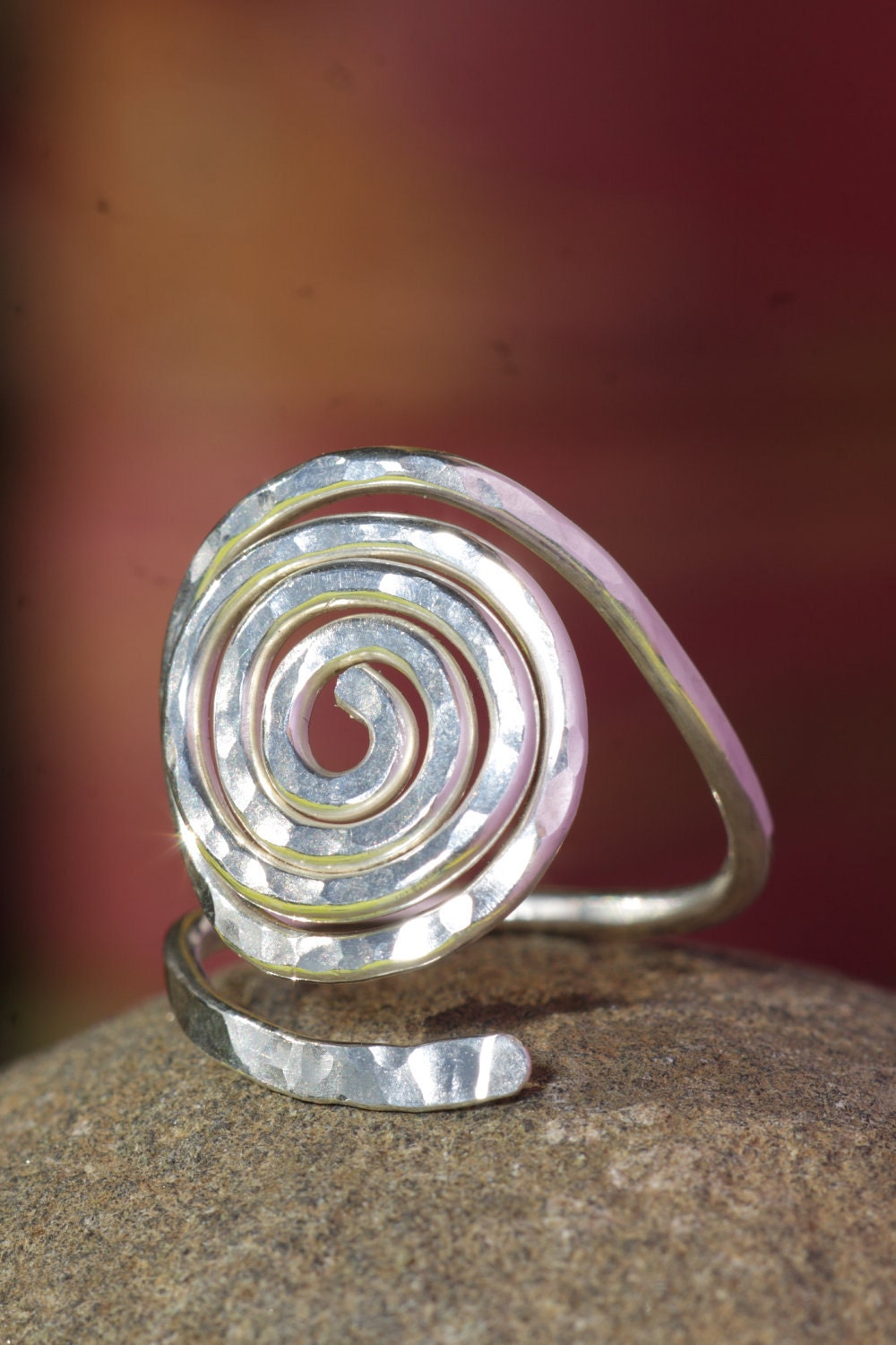 crafted silver spiral ring