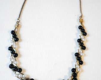 Vintage Black and White Beaded Necklace