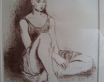 Ballet Dancer Signed Lithograph by Moses Soyer, Framed, Archival Mounted