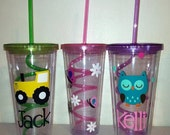 Personalized Acrylic Tumbler with Colorful Lid and Swirly Straw 20oz, Tumbler with Crazy Straw