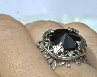 RING black Sterling Silver over Brass, adjustable Womens Ring Size 4 4.5 5 5.5 6 6.5 7 7.5 8 8.5 9 9.5 10 10.5 11 11.5 12 12.5 13 13.5 14