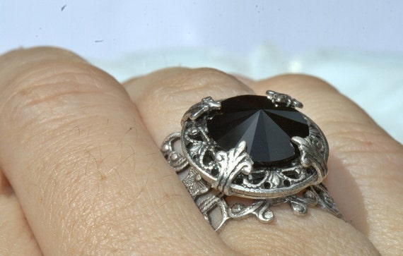RING black Sterling Silver over Brass, adjustable size. Swarovski stone, noir jet midnight Unique Mother Mom bride wedding. Casual or Formal