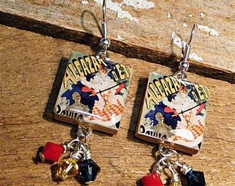 Vintage French Poster / Scrabble Tile Earrings / Swarovski Crystal Bicones / Vintage Style / Dangle Earrings / Multi Color / Poster Earrings