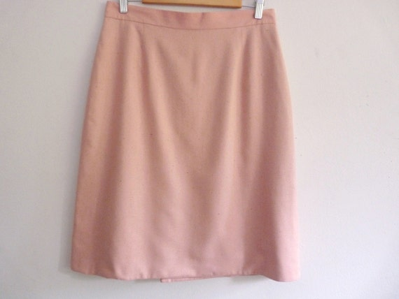 Classic Design Sexy Pencil Straight Skirt Raw Silk Light Coral Pink Handmade Vintage Fully Lined Pleated Vent Size 18 Very Gently Used