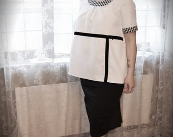 Black and  white 1950's Maternity top