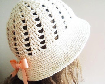 COTTON  CLOCHE Hat,hand crochet hat,   with salmon ribbon