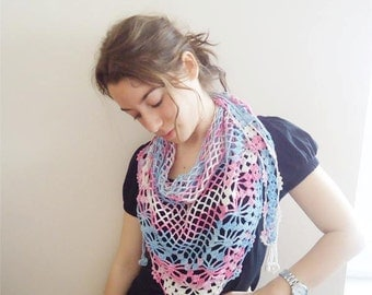 SALE,CROCHETED MULTICOLOR Scarf,  Neckwarmer  Shawl  ,pink ,blue,white