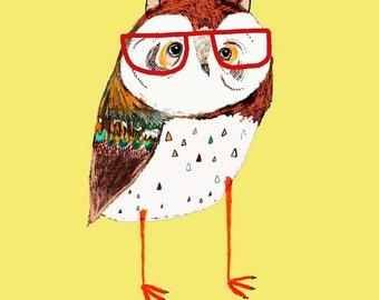 Fresh Owl. art print for kids wall art children's decor nursery wall decor owl art